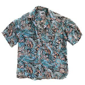 B MAX Men's Abstract Floral Silk Shirt VTG Lg